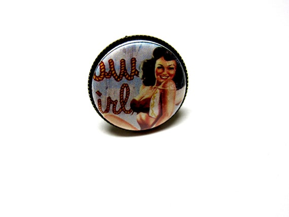 Cowgirl Pin Up Ring - Adjustable Rockabilly Western Jewelry