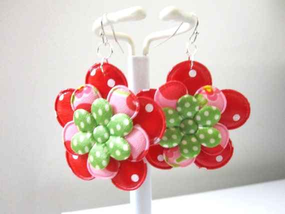 Rockabilly Flower Earrings Polka Dot Jewelry White Red Green Pink