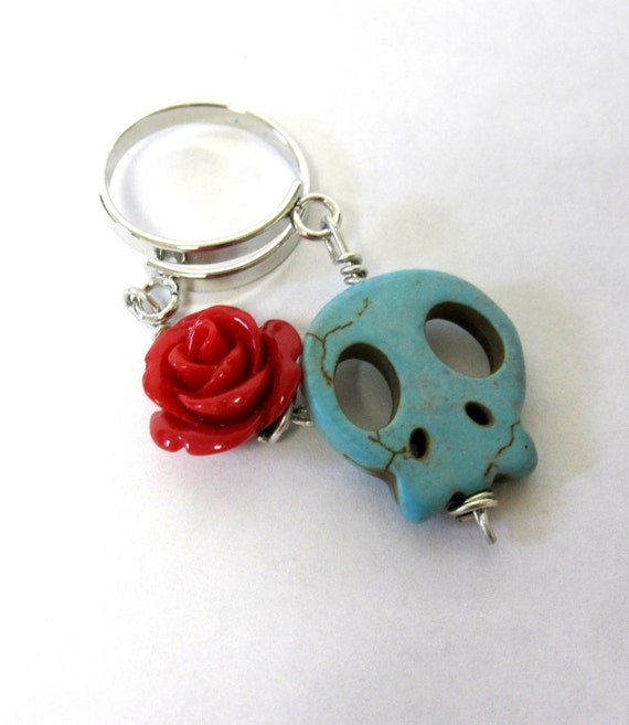 Sugar Skull Ring Day Of The Dead Jewelry Dangle Red Rose Turquoise Blue