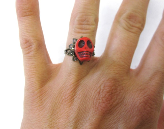 Sugar Skull Ring Day Of The Dead Jewelry Red