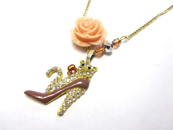 Whats New Kitty Cat Pendant Necklace Ivory Rose Tan Beige Brown High Heel Rhinestone
