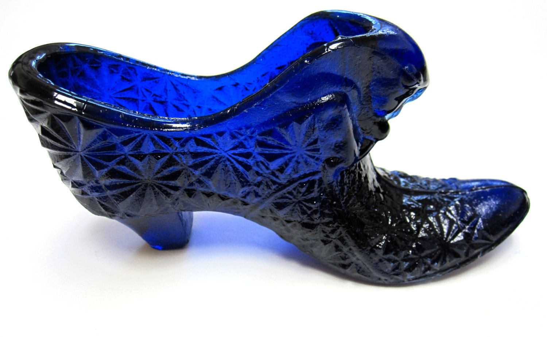 Blue Fenton Glass Shoe