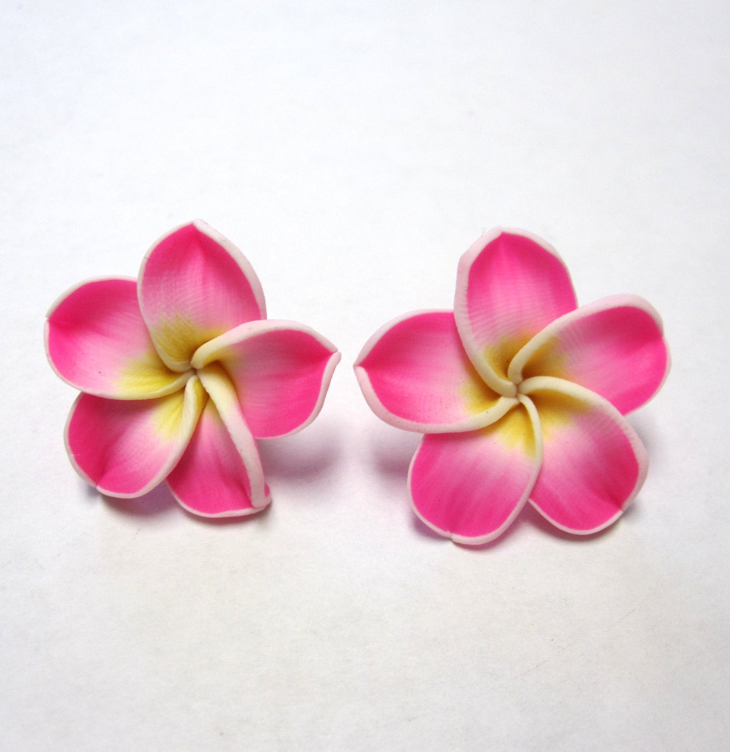 Hot Pink Flower Earrings Hibiscus Post Stud