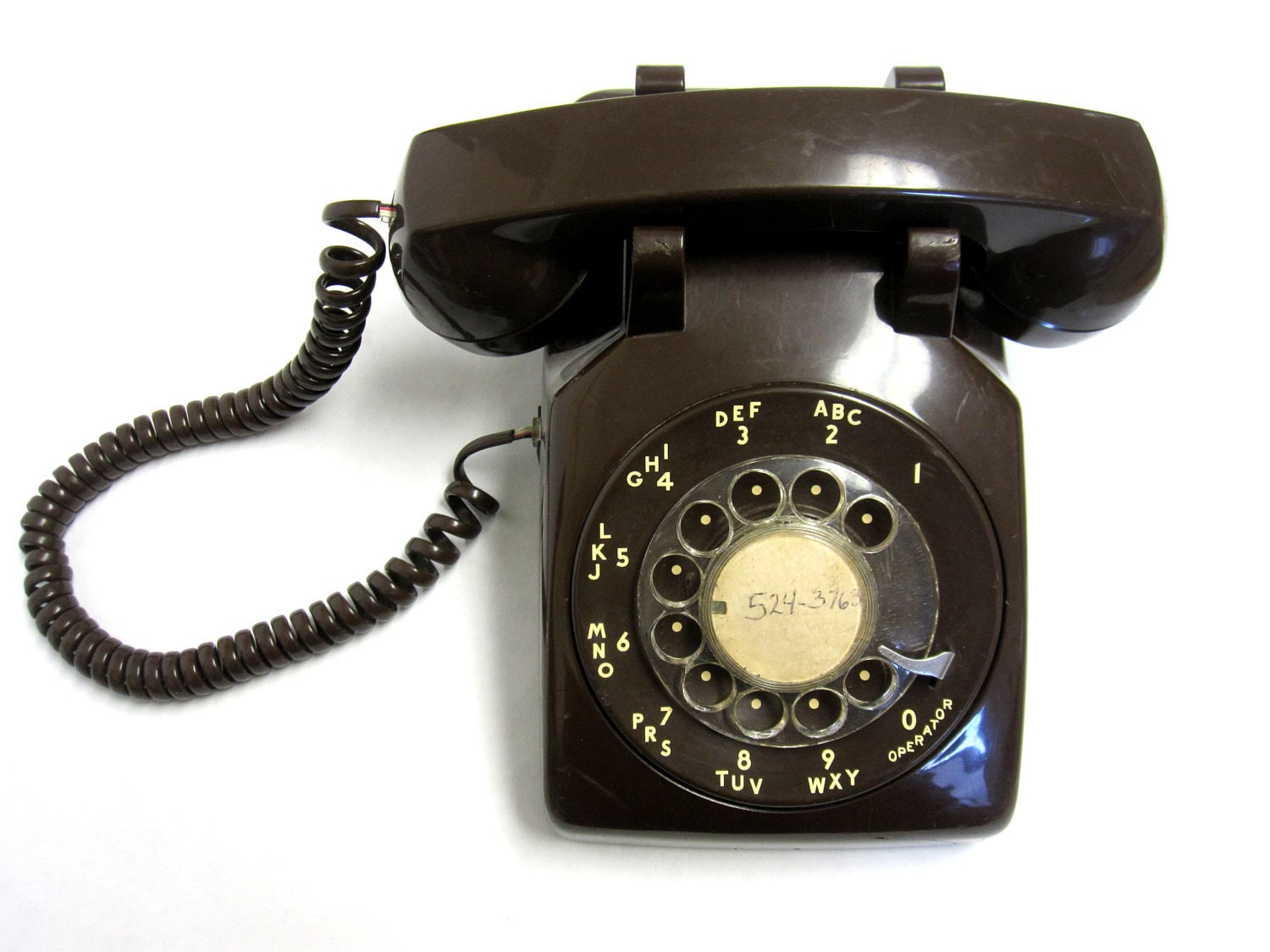 Telephone Rotary Dial Chocolate Brown 1970s Vintage Phone