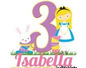 Personalized Custom TEA PARTY Girls T shirt for Birthday theme Rabbit TeaCups