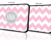 "Custom LAPTOP MACBOOK Sleeve Light Pink Chevron Gray Monogram 11"" 12"" 13"" 14"" 15"" - Personalized Monogram - Design Printed on Front AND Back"