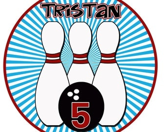 Personalized Custom BOWLING Birthday Party Boy T shirt Name Age Blue Red