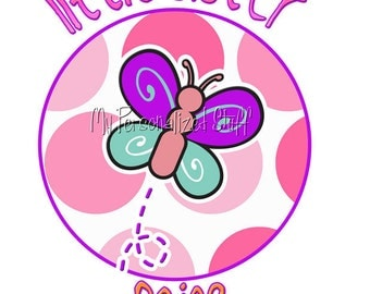 Personalized Custom BUTTERFLY Polka Big Middle Little Sister Sibling Girl T shirt pink polka