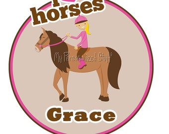 Personalized HORSE Equestrian Jumper birthday Party Girl t shirt Name