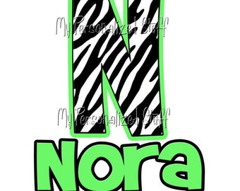 Personalized Zebra Stripe Initial Name Girls T shirt Tee Name Birthday Lime Green ANY COLOR INITIALS