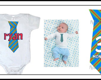 Personalized NECKTIE tie Boys t shirt baby monthly with name or age stripes polka