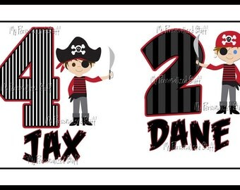 Personalized PIRATE Boys T shirt 2 name Crossbones  black red stripes Birthday Party Tee