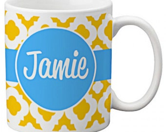 CUSTOM personalized Coffee Mug Cup for Kitchen or Home Blue Yellow Delphine Lattice pattern Any color monogram