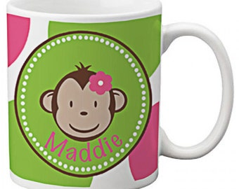 CUSTOM personalized Coffee Mug Cup for Kitchen or Home Green Pink MOD MONKEY any color monogram