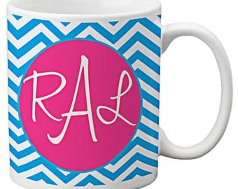 CUSTOM personalized Coffee Mug Cup for Kitchen or Home Blue Hot Pink Chevron Stripes any color monogram