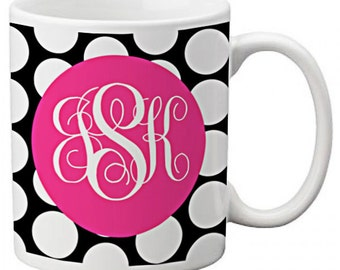 CUSTOM personalized Coffee Mug Cup for Kitchen or Home Black and White Polka Dots with Pink  any color monogram