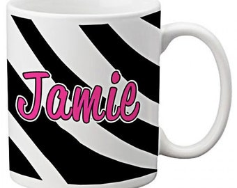 CUSTOM personalized MOM Coffee Mug Cup Kitchen Black Hot Pink Zebra Stripes any color monogram
