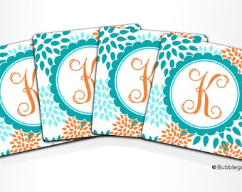 Custom PERSONALIZED Monogram COASTERS - Set of 4 - Light Blue Teal Orange Floral Flowers - any color name initials