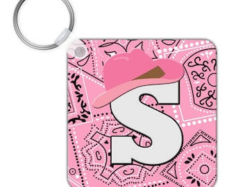 Custom Personalized KEYCHAIN Pink Cowgirl Cowboy Hat Bandana Pattern - SQUARE or CIRCLE - Monogram name initials