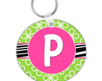 Custom Personalized KEYCHAIN Lime Green Hot Pink Zebra Clover Pattern - CIRCLE or SQUARE - Monogram name initials