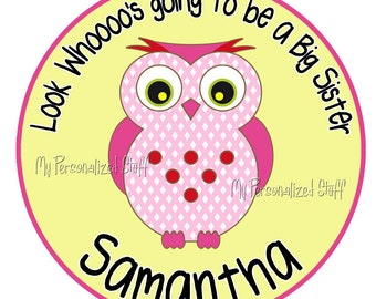 Personalized OWL big Little Middle sister GIRLS T shirt name announcement Tee