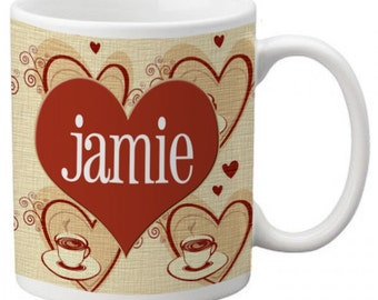 CUSTOM personalized Coffee Mug Cup for Kitchen or Home Tan Red Heart pattern Any color monogram