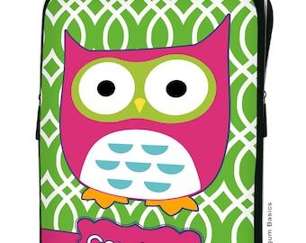 CUSTOM iPad SLEEVE 1, 2, New, 3 Green Hot Pink Retro OWL Personalized Monogram