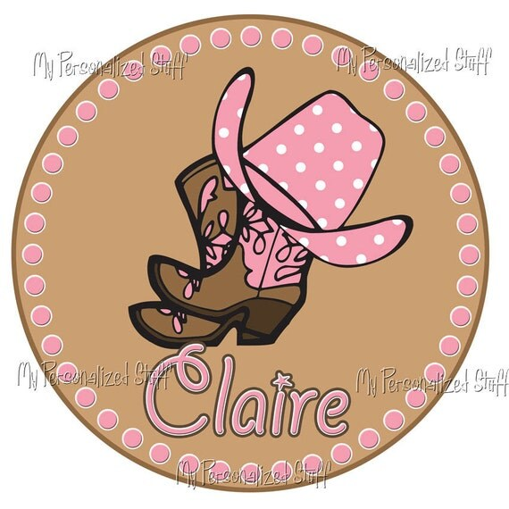Personalized Custom COWGIRL Western Boots Birthday Party Girl T shirt Tee Name Pink Polka Brown