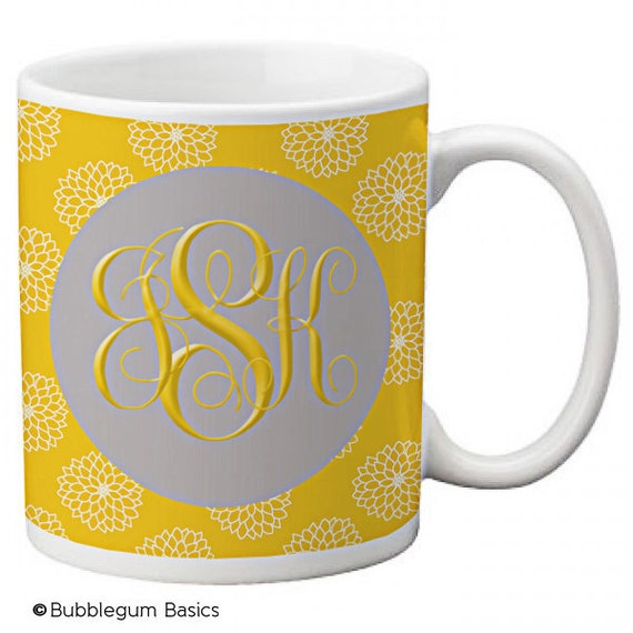 CUSTOM personalized MOM Coffee Mug Cup Kitchen Yellow Mustard Floral Gray any color monogram