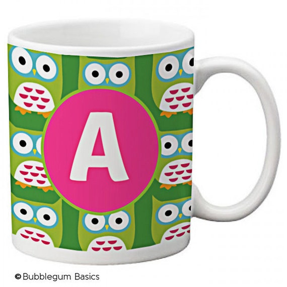 CUSTOM personalized MOM Coffee Mug Cup Kitchen Green Hot Pink Retro Owl any color monogram