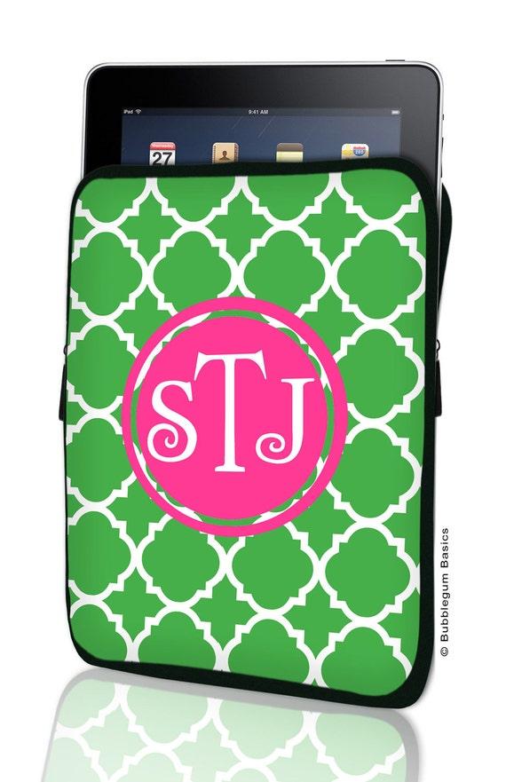 CUSTOM iPad SLEEVE 1, 2, New, 3 Green Lattice Hot Pink PERSONALIZED Monogram