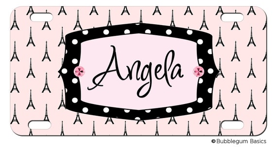 PERSONALIZED LICENSE Plate Pink Black Paris Eiffel Tower Pattern CUSTOM Car Tag Name Any Color Monogram