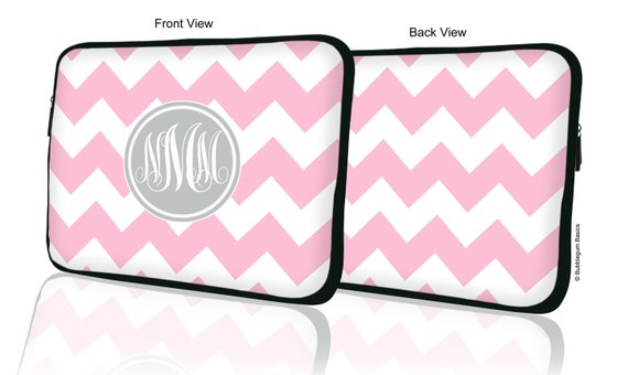 "Custom LAPTOP MACBOOK Sleeve Light Pink Chevron Gray Monogram 11"" 12"" 13"" 14"" 15"" - Personalized Monogram - Design Printed on Front AND Back"