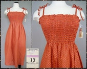 Vtg 1970s DEADSTOCK Burnt Orange CALICO Cotton Boho Hippie BLOOMINGDALES Summer Sun Dress m