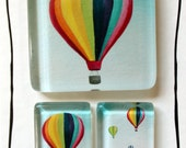 Drifting Hot Air Balloons Glass Tile Magnet Set of 3 Extra Strong