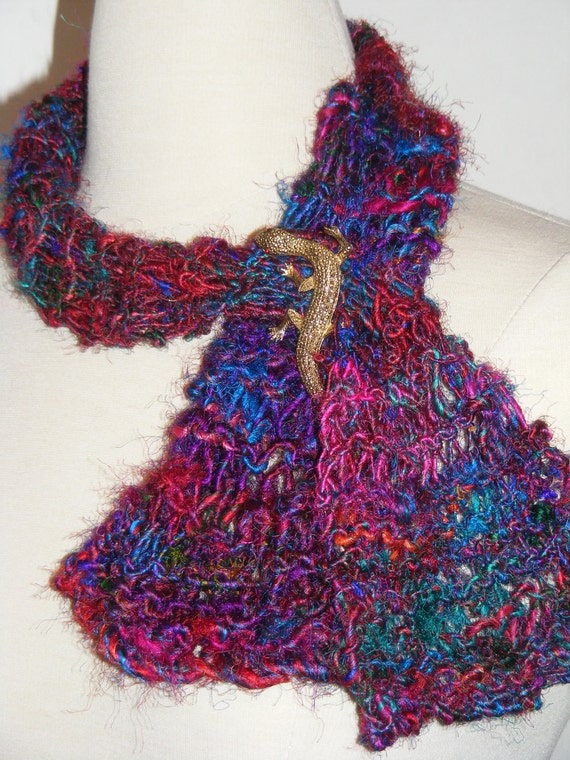 Scarf/ Silk Fashion Scarf / Art Yarn Scarf / Hand Knit