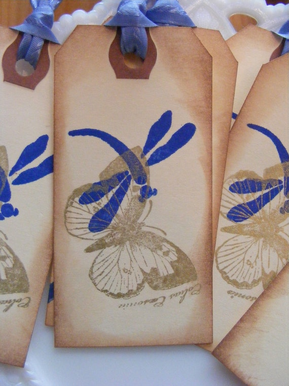 Gift Tags/ Vintage Inspired Butterfly/Dragonfly Hand stamped Tags (Set of 6)