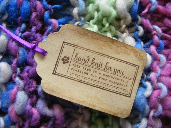 Gift tags hand knit for you tags set of 6 baked cookie for Hand knit labels