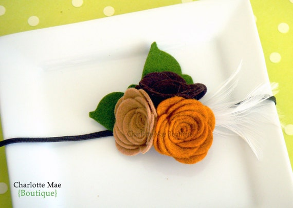 Emma -  Wool Felt Flower Rose Trio for Fall with Feather in your color choice Newborn to Adult