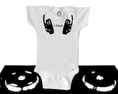 Organic baby clothes, cool hipster, headphones, black and white, organic onesie, cute, hip hop, DJ