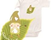 Organic yoga onesie, namaste gnome