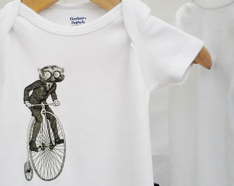Organic baby clothes, hipster bicycle onesie,  animal on bike, unique black and white illustration