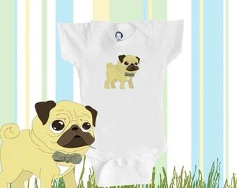 Organic baby pug onesie, cute pug wearing a bowtie, baby boy or girl