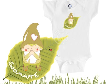 Organic baby clothes, Namaste yoga onesie, gnome, funny and cute, baby boy, baby girl