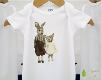 Organic baby clothes, vintage onesie, fox & rabbit kids, unique and a bit weird, sepia