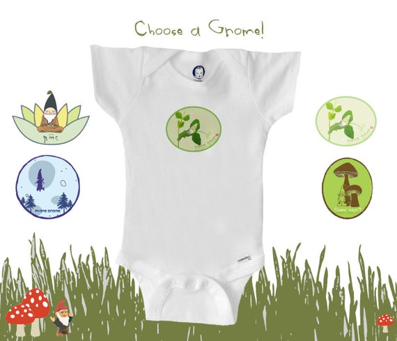 Organic baby clothes, U CHOOSE A GNOME, pick a gnome and go, unique baby gift, boy or girl