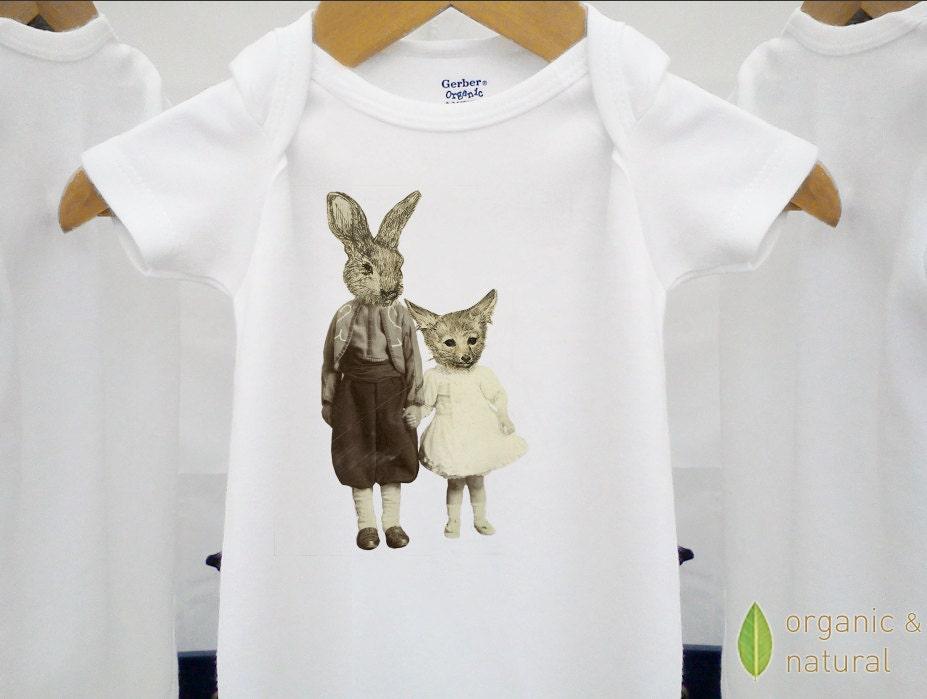 Organic baby clothes vintage onesie fox & rabbit kids