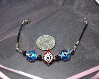 Red & blue Evil eye bracelet