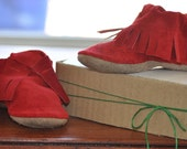 Eco Friendly Red Moccasins for babies and toddlers