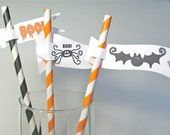 Paper Drinking Straws, Halloween Decorations, Mini Flags - 12 Total